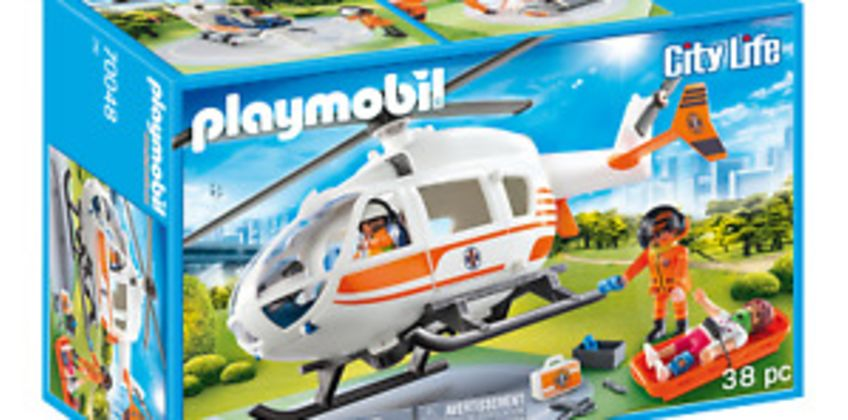 Playmobil 70048 City Life Hospital Emergency Helicopter with Landing Pad from ebay