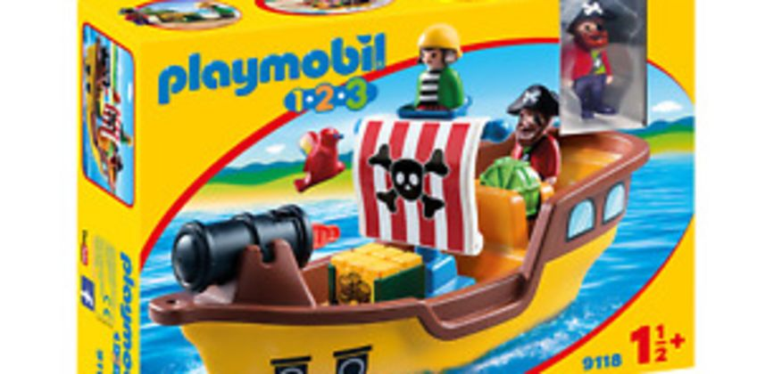 Playmobil 9118 1.2.3 Floating Pirate Ship with Firing Water Cannon Age 3+ from ebay