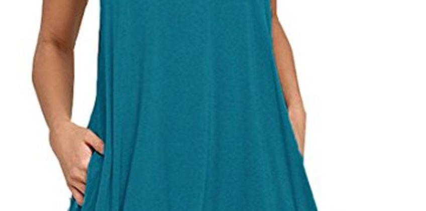 HAOMEILI Women's Sleeveless Long Sleeve Pockets Casual Swing T-Shirt Summer Dress from Amazon