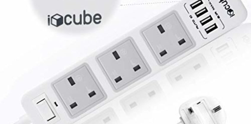 iBlockCube Extension Lead with USB ports 3 Way Outlets 4 Ports Surge Protection Power Strip Universal Charging Socket with 2 Meter/6.5ft Bold Extension cord, build in Fuse and Shutter 3 gang charging station from Amazon