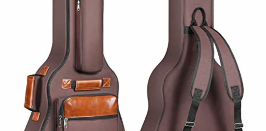 CAHAYA Guitar Bag 41 Inch Guitar Case Waterproof Oxford Cloth Padded Thick Protective Acoustic Guitar Case with Adjustable Double Shoulder Straps (Brown) from Amazon
