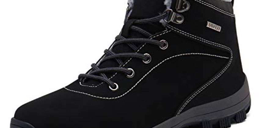 UBFEN Mens Womens Snow Boots Winter Warm Plush Booties Outdoor Sports Walking Hiking High Top Shoes from Amazon