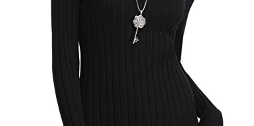 Abollria Womens Turtle Neck Long Sleeve Chunky Knit Ribbed Sweater Jumper Knitwear Top from Amazon