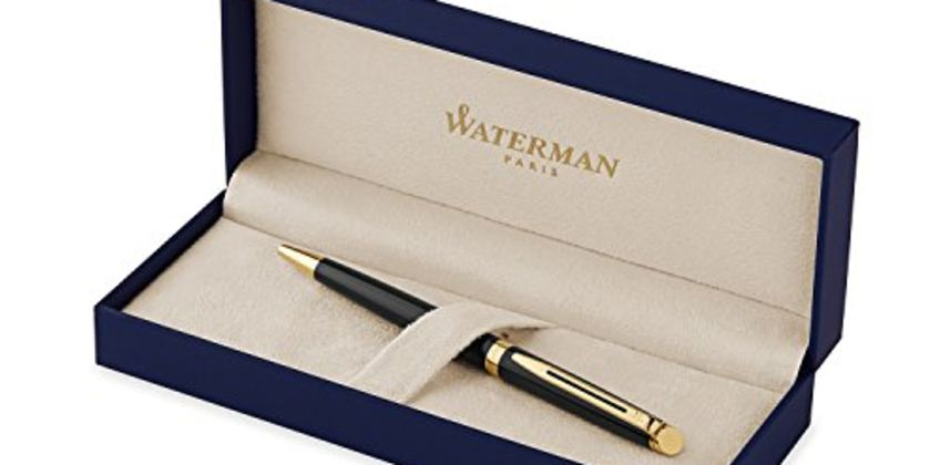 Save on Waterman Hemisphere Ballpoint Pen, Gloss Black with 23k Gold Trim, Medium Point with Blue Ink Cartridge, Gift Box and more from Amazon