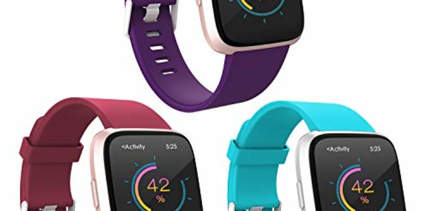WASPO for Fitbit Versa Strap Silicone, Classic TPU Silicone Sport Replacement Bands compatible with Versa/Versa Lite/Versa Special Edition/Versa 2, Women Men Small Large from Amazon