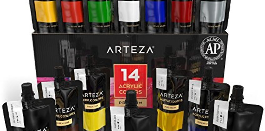 Arteza Acrylic Paint Set, 14 Colours/Pouches, (120 ml/4.06 oz.), with Storage Box, Rich Pigments, Non Fading, Non Toxic, for The Professional Artist, Hobby Painters & Kids from Amazon