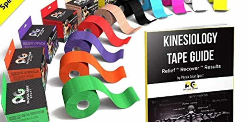 Physix Gear Sport Kinesiology Tape - Best Waterproof Uncut Muscle Support Tape for Sports Injuries - Includes Free 82 Page Illustrated eGuide with Latest Taping Techniques - 5cm x 5m Roll from Amazon