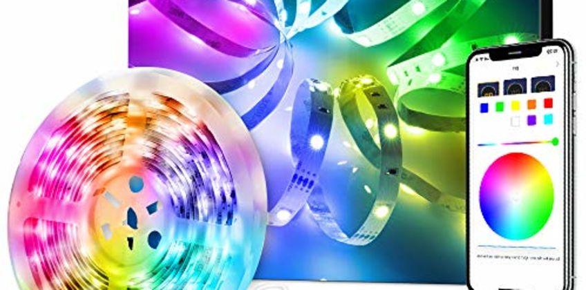 LED Strip Lights, Govee Bluetooth Colour Changing RGB Light Strip, Music Sync and 7 Scenes with Phone App, Remote, Control Box LED Lights for Room, Kitchen, Party, Christmas, 3 Way Controls from Amazon
