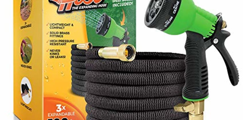 "Flexi Hose Upgraded Expandable Garden Hose, Extra Strength, 3/4"" Solid Brass Fittings - The Ultimate No-Kink Flexible Water Hose, 8 Function Spray Included from Amazon"