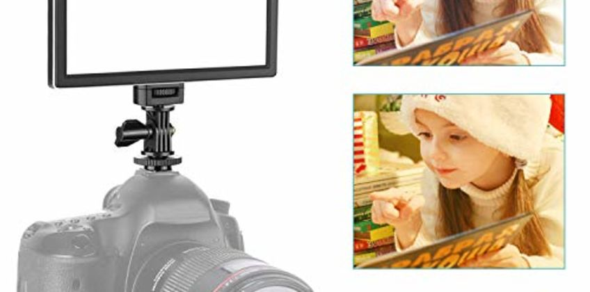 Neewer Camera / Camcorder Video Light SMD LED light box for softer illumination, 3200K to 5600K color temperature and dimmable light, ultra thin, T100 (battery not included) from Amazon