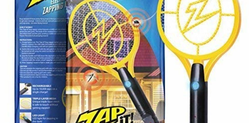 ZAP IT! Bug Zapper - Rechargeable Mosquito, Fly Swatter/Killer and Bug Zapper Racket - 4,000 Volt USB Charging, Super-Bright LED Light to Zap in the Dark from Amazon