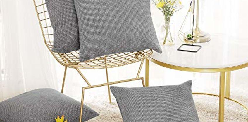 Deconovo Set of 4 Faux Linen Chenille Cushion Cover 40x40cm,45x45cm from Amazon