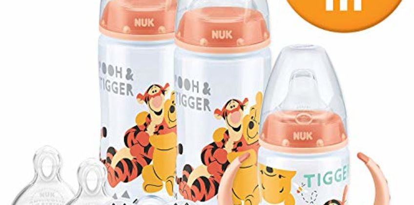 Save on NUK Disney Baby Bottle Soother and Sippy Cup Set 0-18 Months, Winnie the Pooh Design with 2 Baby Bottles, 1 Sippy Cup, 2 Soother Dummies and 2 Silicone Bottle Teats and more from Amazon
