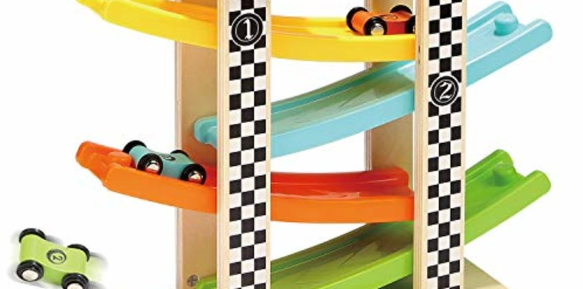 TOP BRIGHT Wooden Car Ramp Toys for 1 2 Year Old Boy Gifts, First Birthday Present for One Two Year Old Car Toy,Baby Toys 12 18 Months with 4 Mini Cars from Amazon