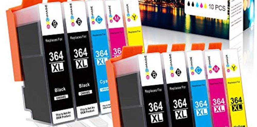 GPC Image 364XL (10Pack) Compatible Ink Cartridges for HP 364 364-XL for HP Photosmart 5510 5520 5522 5520 6520 B8550 C5388 7510 7520 5524 6510 5515, HP Officejet 4620, HP Deskjet 3070A(4B/2C/2 M/2Y) from Amazon