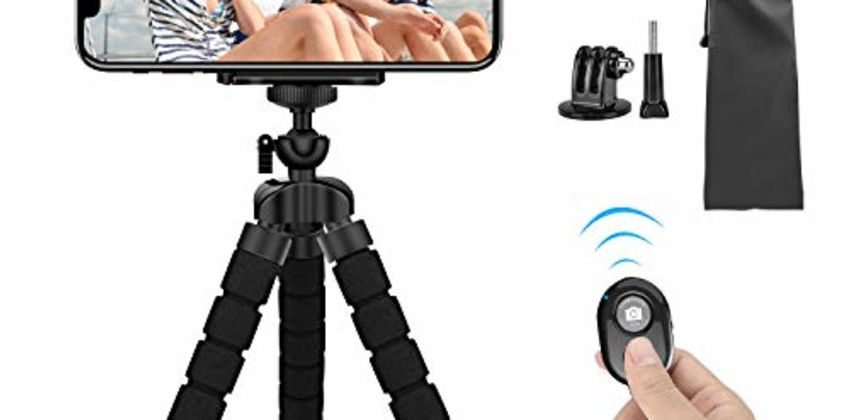 Mini Phone Tripod, SYOSIN Phone Camera Tripod Mount with Bluetooth Control and Universal Clip, 360° Rotating Flexible Tripod Stand Holder for Smartphone, Camera and GoPro from Amazon