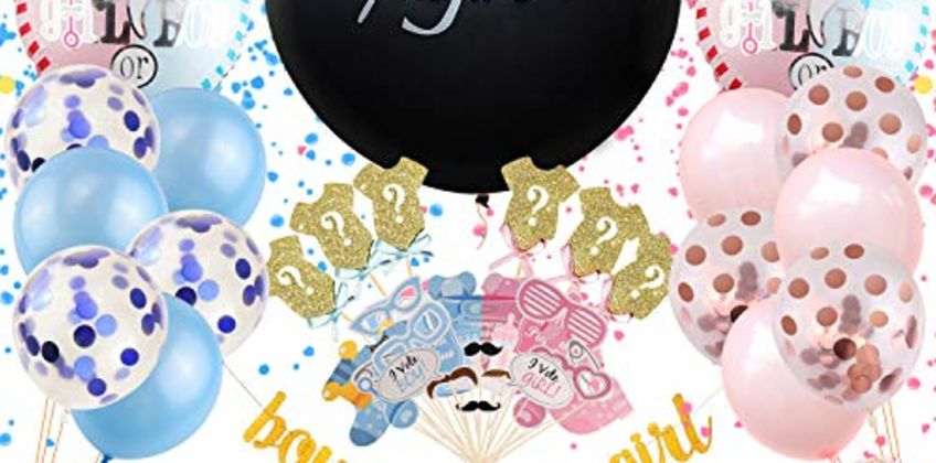Satkago Baby Gender Reveal Party Supplies 115 Pcs with 36'' Gender Reveal Confetti Balloon, Boy or Girl Glitter Banner, Mylar Balloons, Confetti Balloons, Photo Props, Cupcake Toppers and Stickers from Amazon