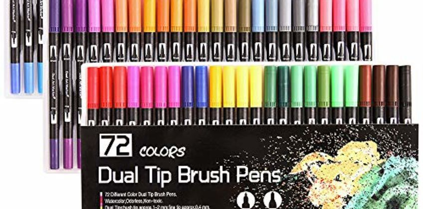 Dual Tip Brush Pens, Funnasting 72-Colors Brush Fineliner Pens Colouring Pens Brush Tip Art Markers for Kids and Adults Colouring, Sketching, Painting from Amazon
