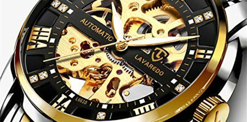 Men's Watch Black Mechanical Stainless Steel Skeleton Waterproof Automatic Self-Winding Roman Numerals Diamond Dial Wrist Watch from Amazon
