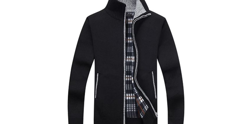 Men's Knitted Harrington Jumper - 5 Sizes & Colours from GoGroopie