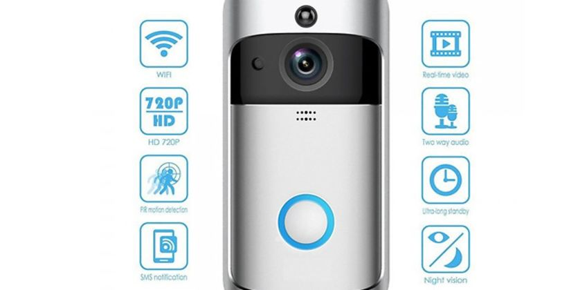 3-in-1 Smartphone-Connected Video Doorbell With Intercom - 2 Colours & Optional SD Card from GoGroopie