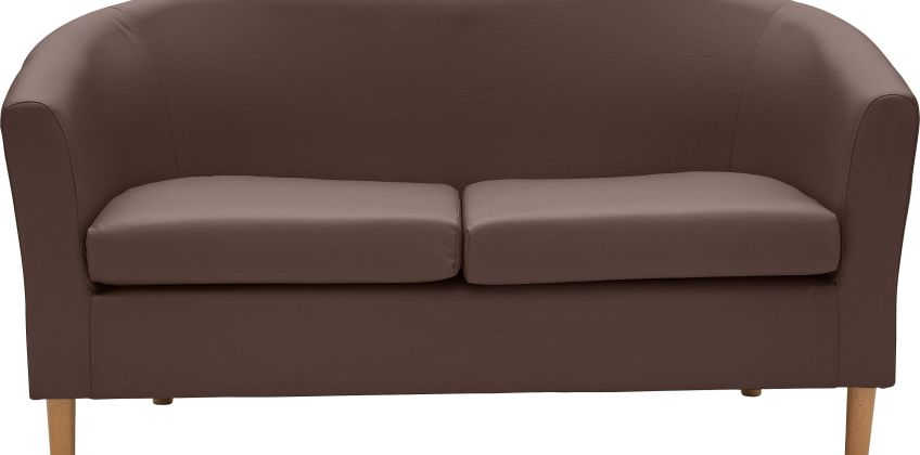 Argos Home 2 Seater Faux Leather Tub Sofa - Brown from Argos