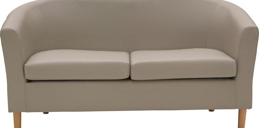Argos Home 2 Seater Faux Leather Tub Sofa - Mocha from Argos