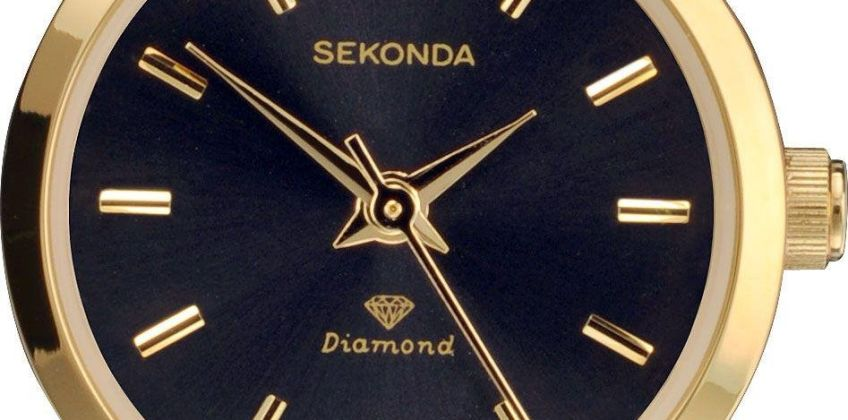 Sekonda Ladies Diamond Black Strap Watch from Argos