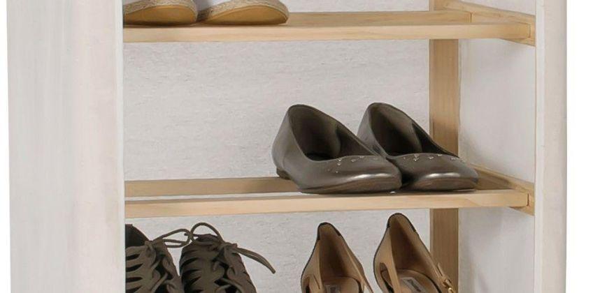 Argos Home Canvas and Pine 9 Shelf Shoe Storage Rack - Cream from Argos