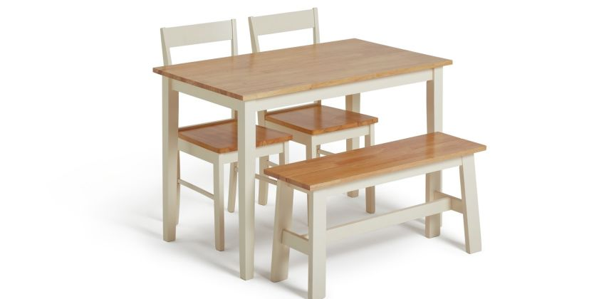 Argos Home Chicago Solid Wood Table, 2 Chairs & Bench from Argos