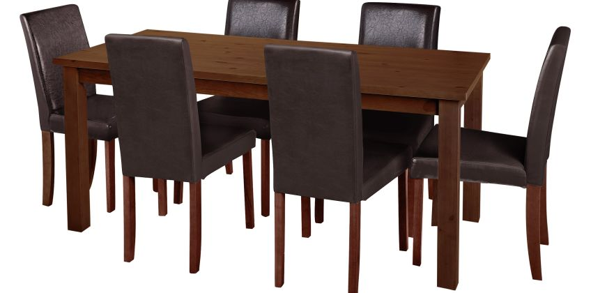 Argos Home Ashdon Solid Wood Table & 6 Mid Back Chairs- Choc from Argos