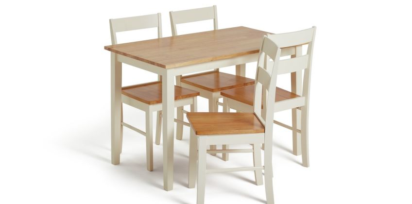 Argos Home Chicago Solid Wood Dining Table & 4 Chairs from Argos