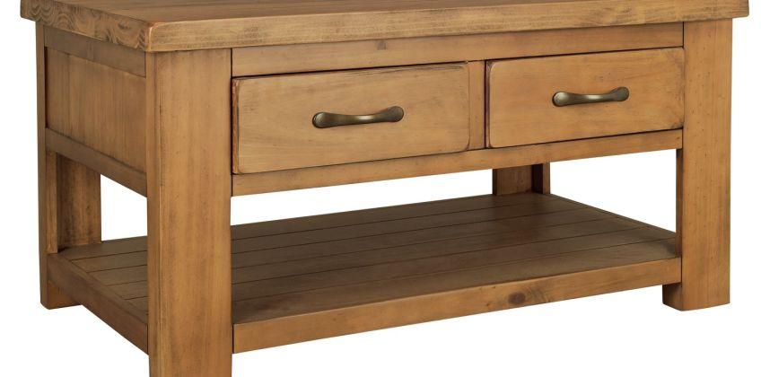 Argos Home Arizona 2 Drawer 1 Shelf Solid Pine Coffee Table from Argos