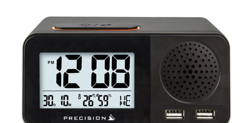 Precision Radio Controlled USB Dual Alarm Clock from Argos
