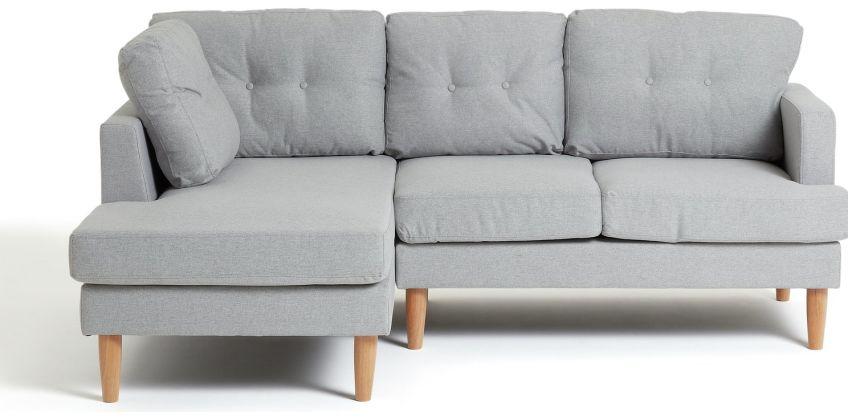 Argos Home Joshua Left Corner Fabric Sofa - Light Grey from Argos