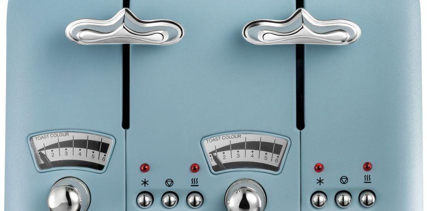 De'Longhi CTO4 Argento Flora 4 Slice Toaster - Blue from Argos