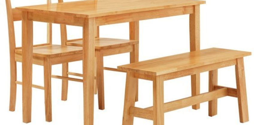 Argos Home Chicago Dining Table, Bench & 2 Chairs - Natural from Argos