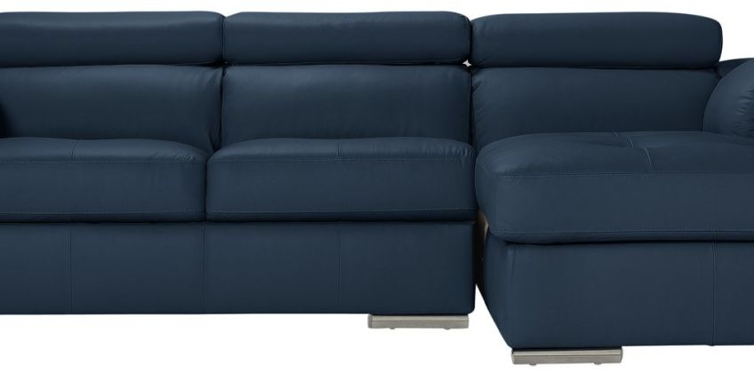 Argos Home Valencia Right Leather Corner Sofa - Blue from Argos