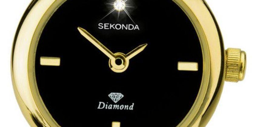 Sekonda Ladies Diamond Set Gold Plated Bangle Bracelet Watch from Argos