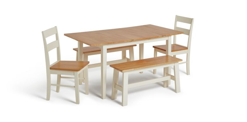 Argos Home Chicago Extending Table, 2 Benches & 2 Chairs from Argos