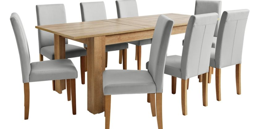 Argos Home Miami XL Oak Effect Extending Table & 8 Chairs from Argos