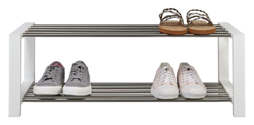 Argos Home 2 Tier Shoe Rack - White & Chrome from Argos