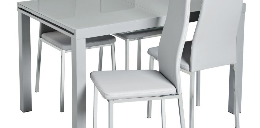 Argos Home Anton Glass Extending Dining Table & 4 Tia Chairs from Argos
