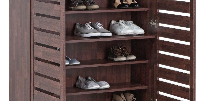 Argos Home Slatted Shoe Cabinet - Mahogany Effect from Argos