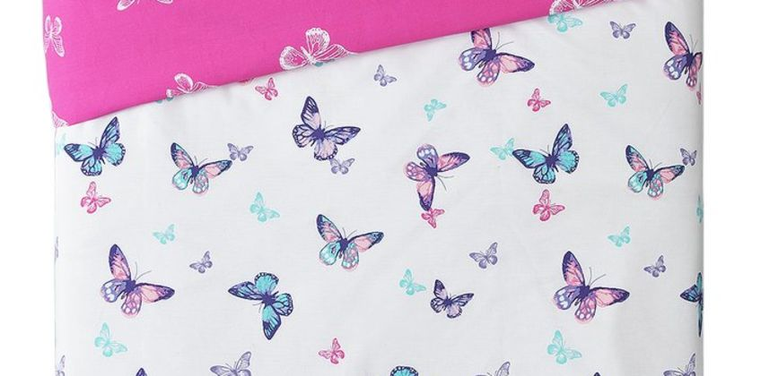 Argos Home Pink Reversible Butterfly Bedding Set from Argos