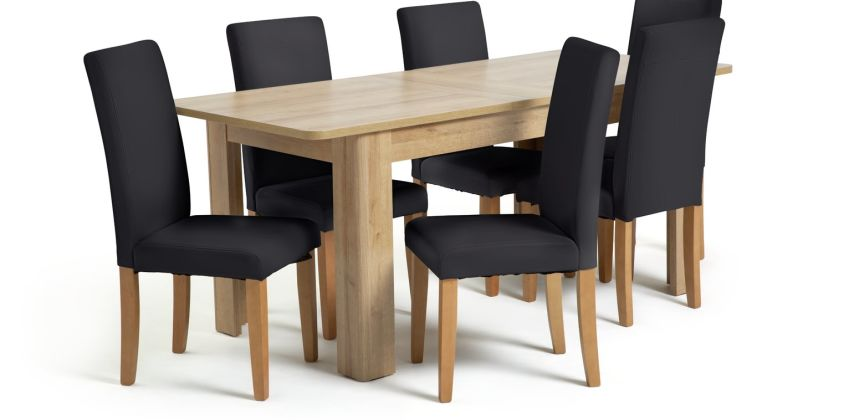 Argos Home Miami Curve Oak Effect Extending Table & 6 Chairs from Argos