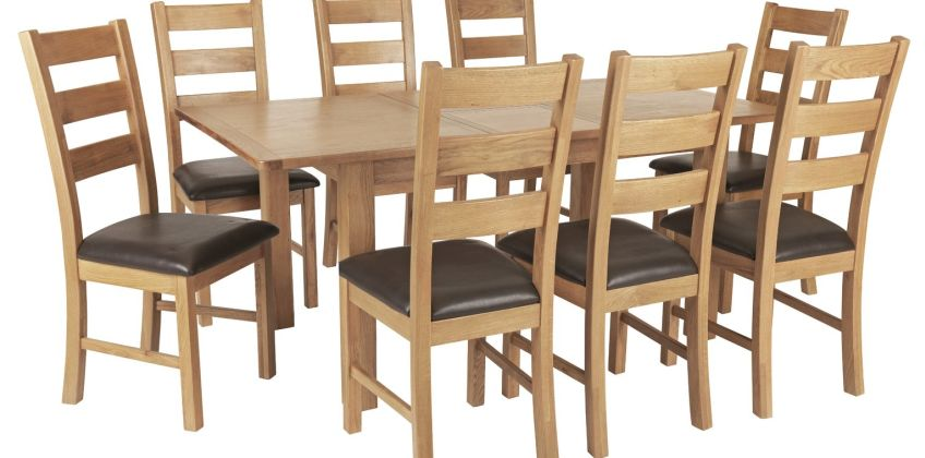 Argos Home Ashwell Oak Veneer Extending Table & 8 Chairs from Argos