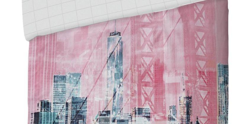 Argos Home Pink New York Skyline Bedding Set from Argos