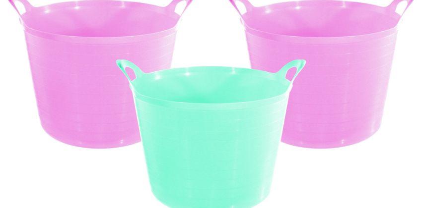 Argos Home Set of 3 27 Litre Pink Flexi Tubs from Argos
