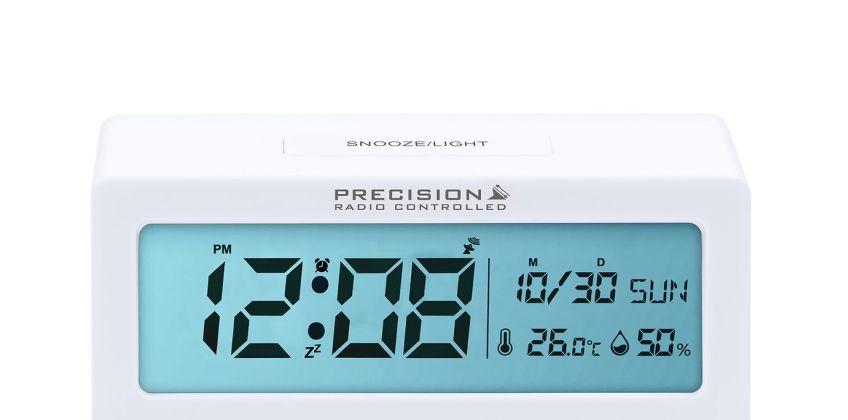 Precision Radio Controlled Alarm Clock - White from Argos